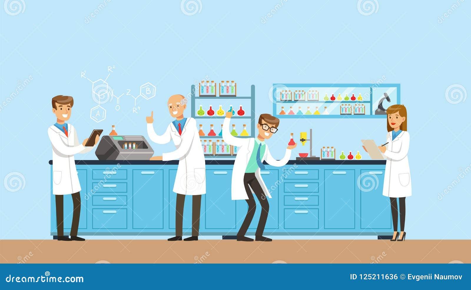 Wissenschaftler, die Forschung im chemischen Labor, Innenraum des Wissenschaftslabors, Vektor Illustration Arbeits sind