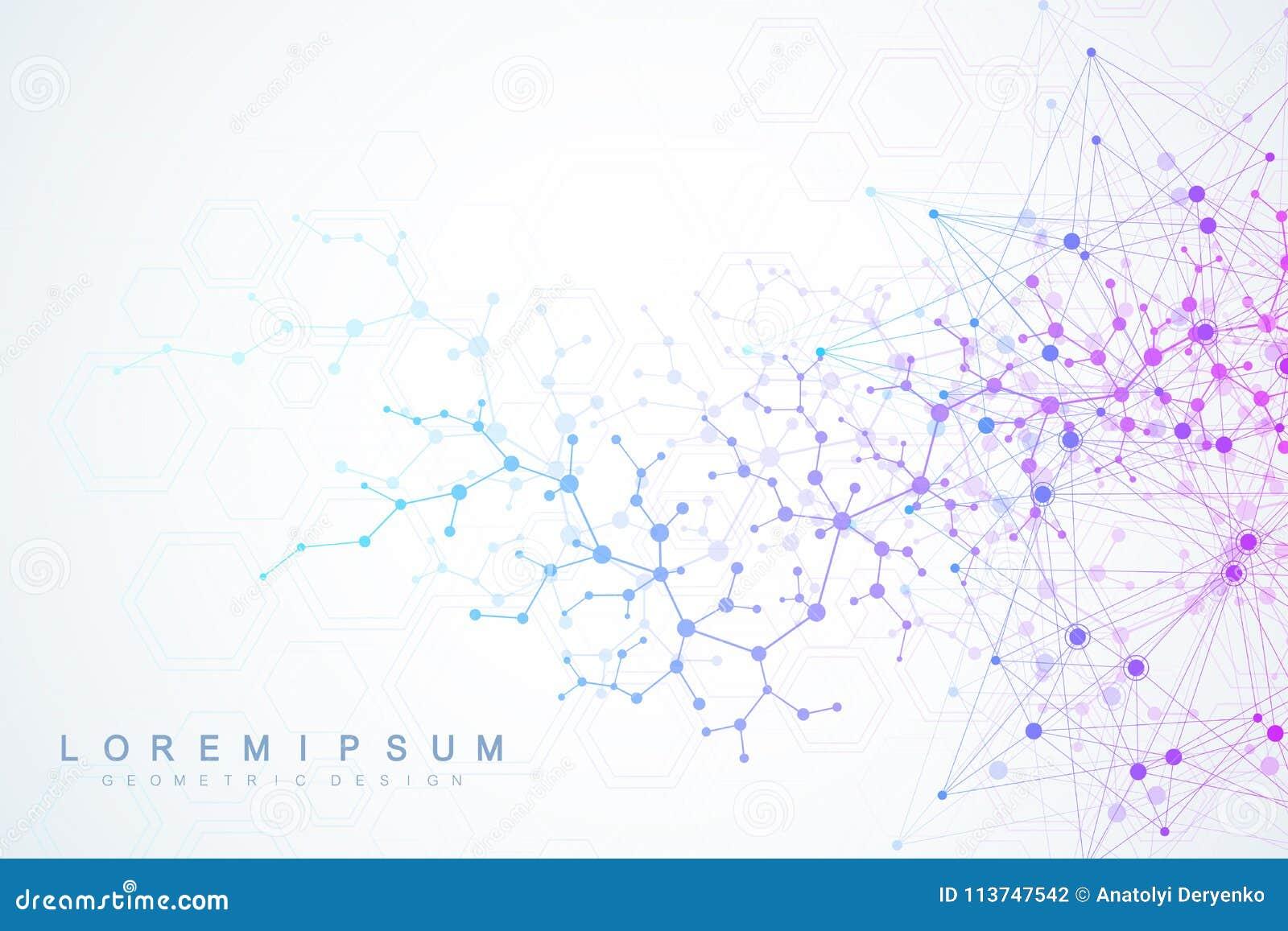 Wissenschaftlicher Molekülhintergrund für Medizin, Wissenschaft, Technologie, Chemie Tapete oder Fahne mit eine DNA-Molekülen