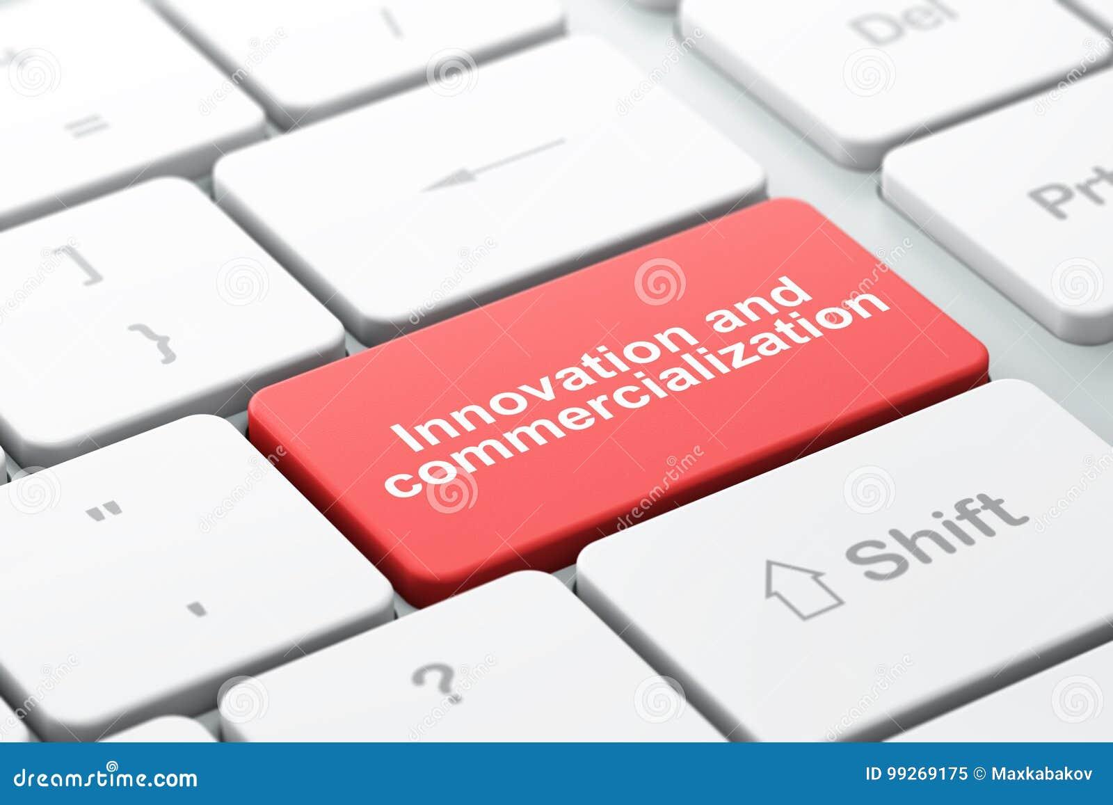 Wissenschaftskonzept: Innovation und Kommerzialisierung auf Computertastaturhintergrund