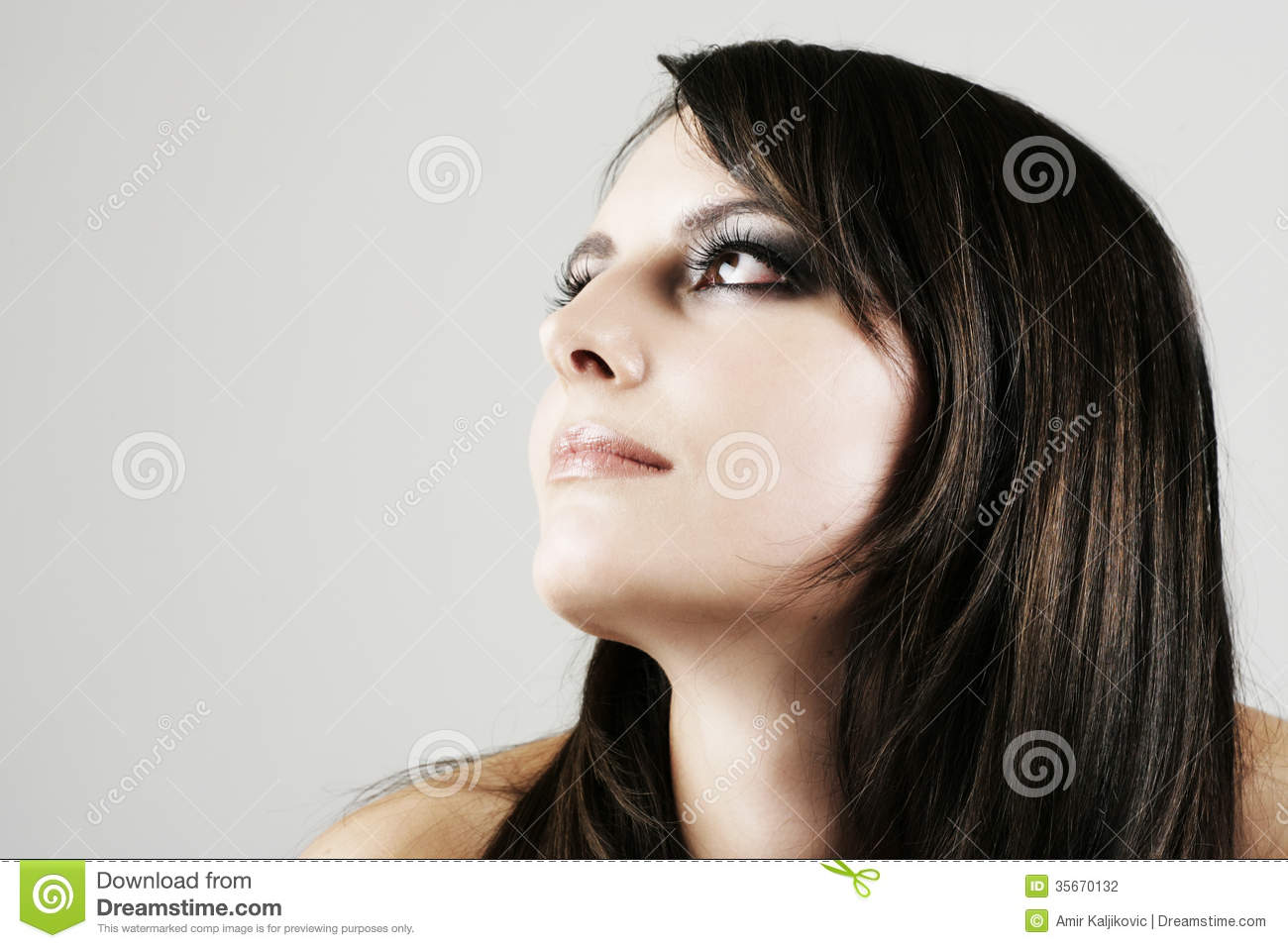 Wistful Beautiful Woman Daydreaming Stock Photo - Image ...