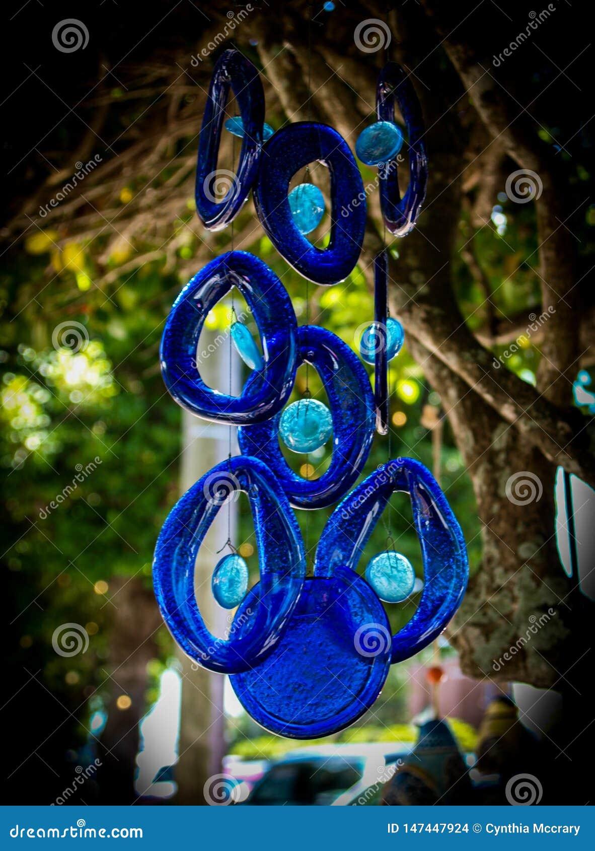 Wiszący Błękitni Szklani Wiatrowi kuranty