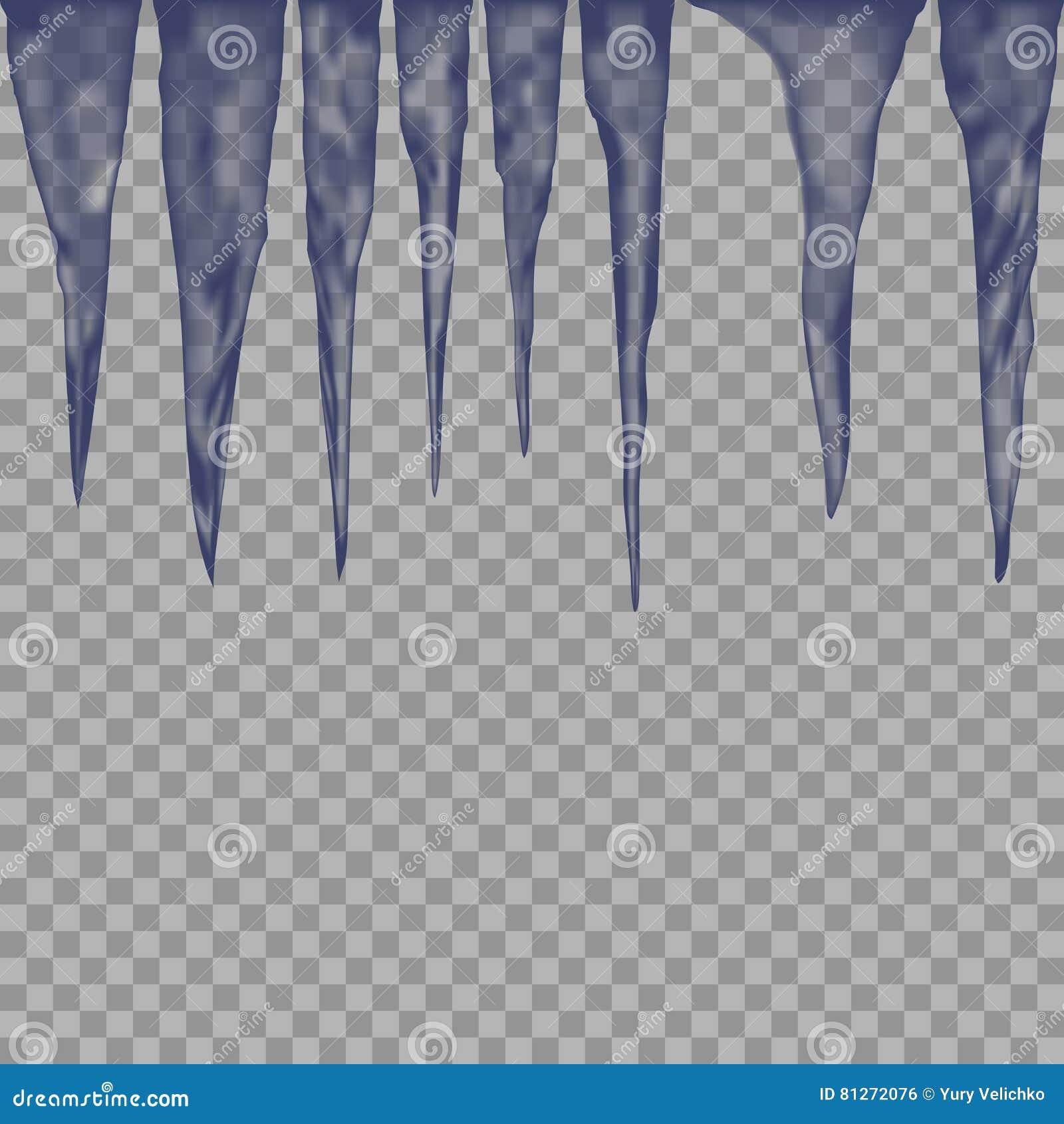 Wiszący półprzezroczyści sople w błękitnych kolorach na przejrzystym tle