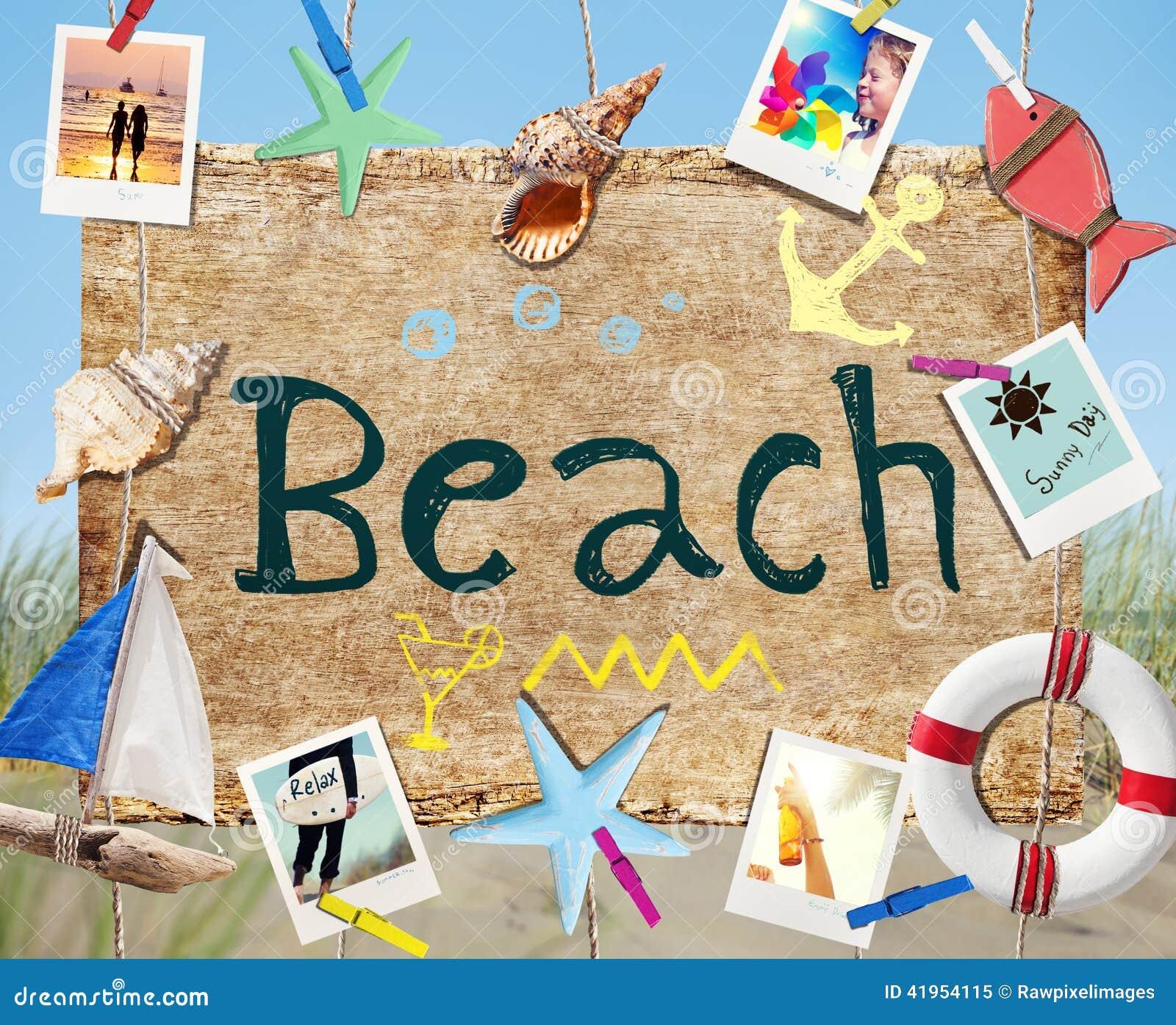 Wiszący Plażowy Signboard z lato fotografiami i przedmiotami