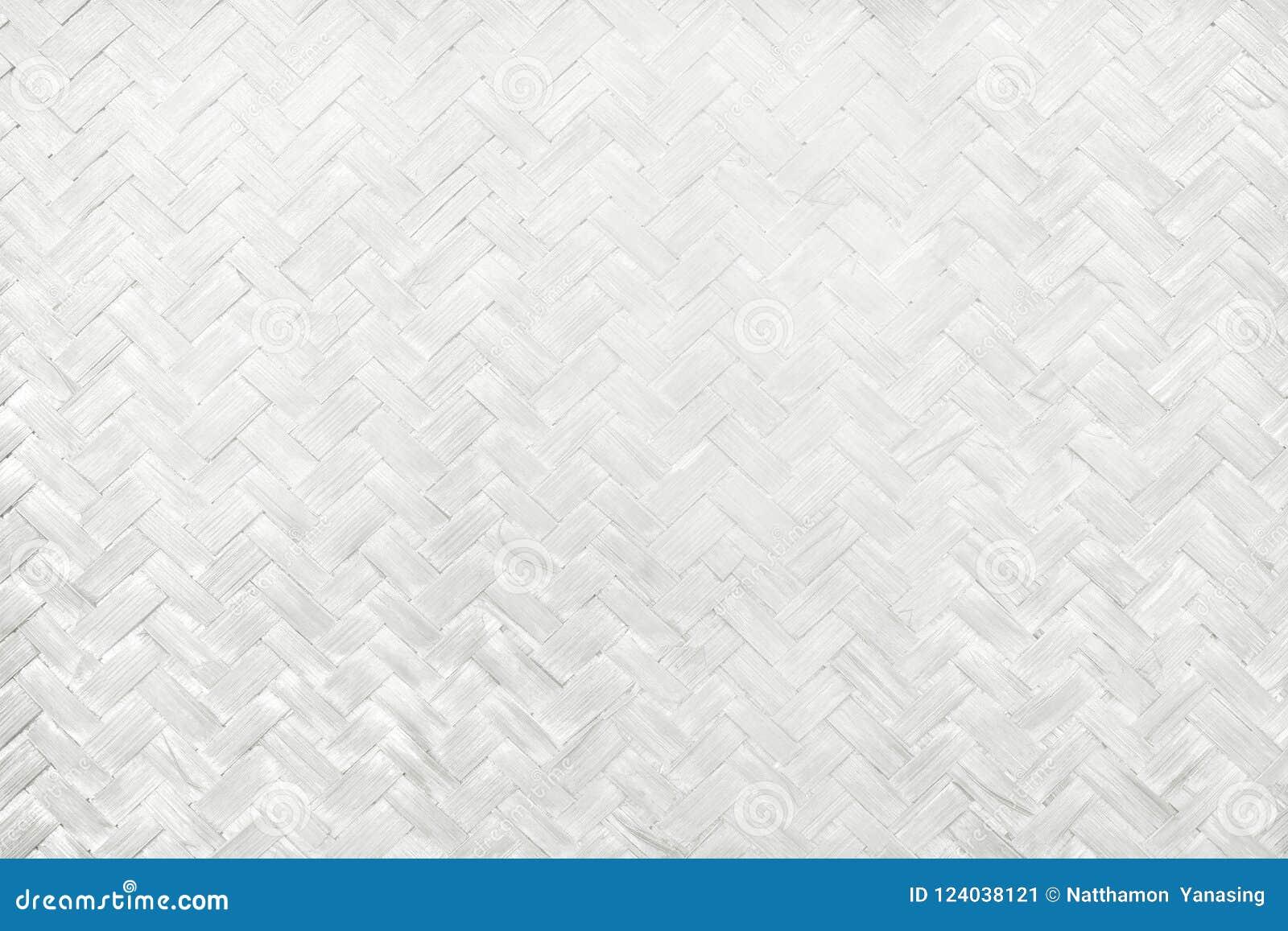 Wit bamboe wevend patroon, de geweven textuur van de rotanmat voor achtergrond en het werk van de ontwerpkunst
