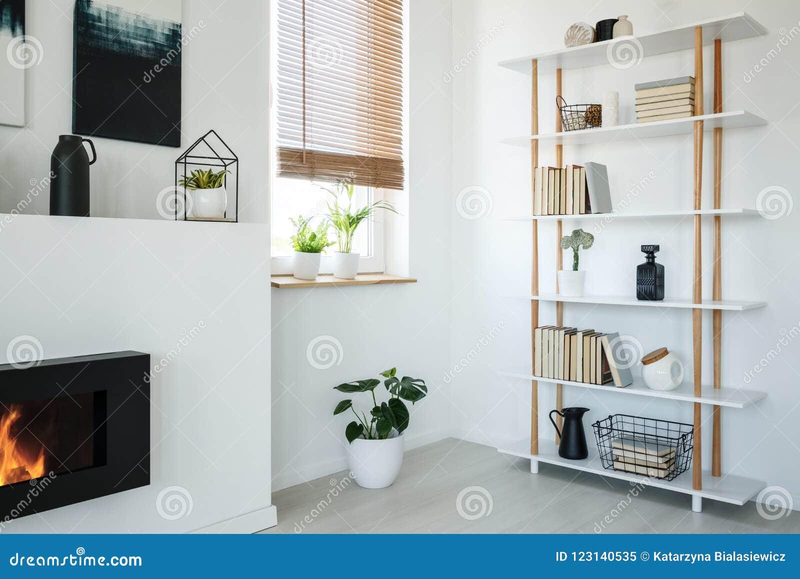 Moderne Boekenkast Wit.Wit Boekenkast Open Haard En Venster Met Installaties In Een