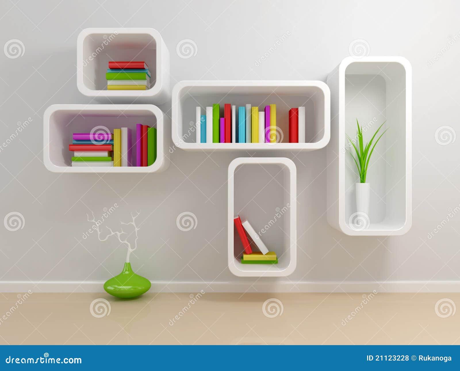 Boekenrek Tegen Muur.Wit Boekenrek Stock Illustratie Illustratie Bestaande Uit