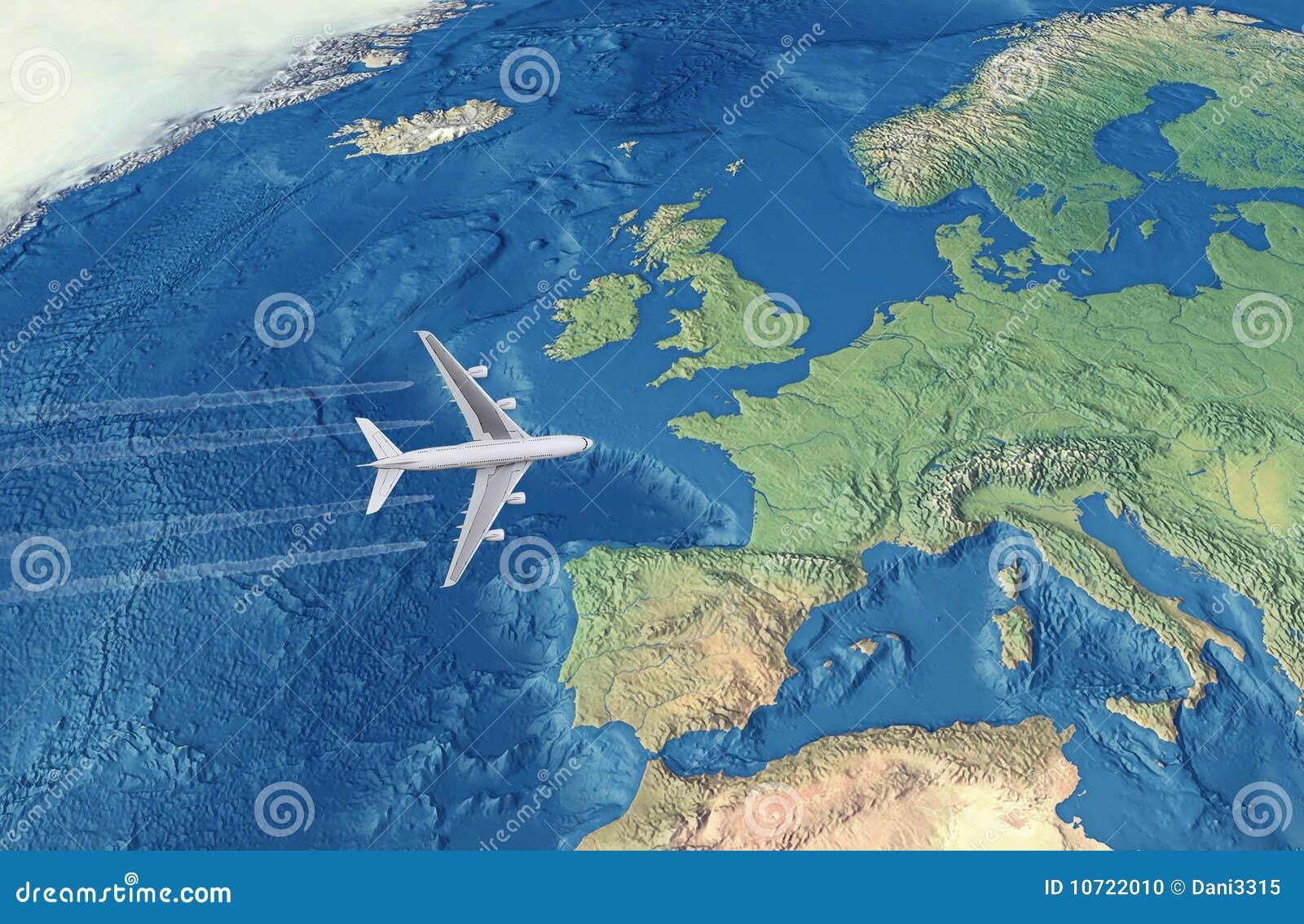 Afbeeldingsresultaat voor afbeelding vliegtuig over atlantische oceaan