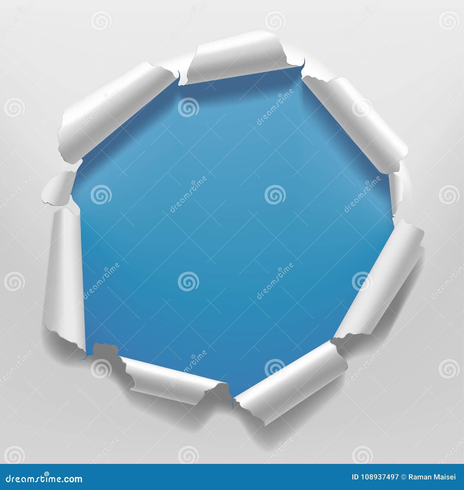 Wit gescheurd document kader met een gat op blauwe achtergrond als achtergrond