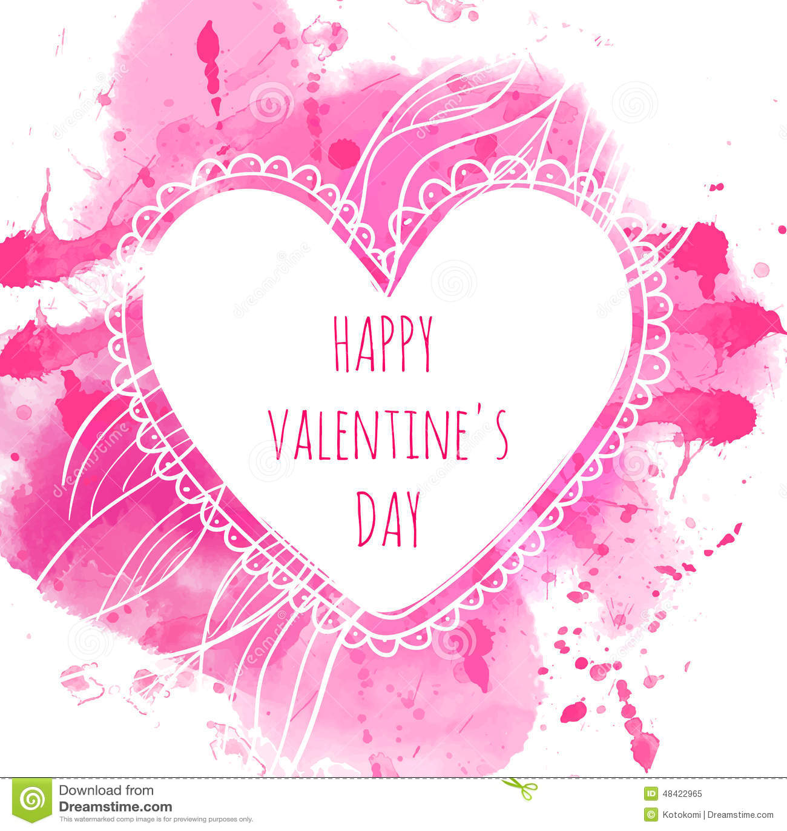 Wit hand getrokken hartkader De roze achtergrond van de waterverfplons Artistiek ontwerpconcept voor huwelijksuitnodigingen, groe