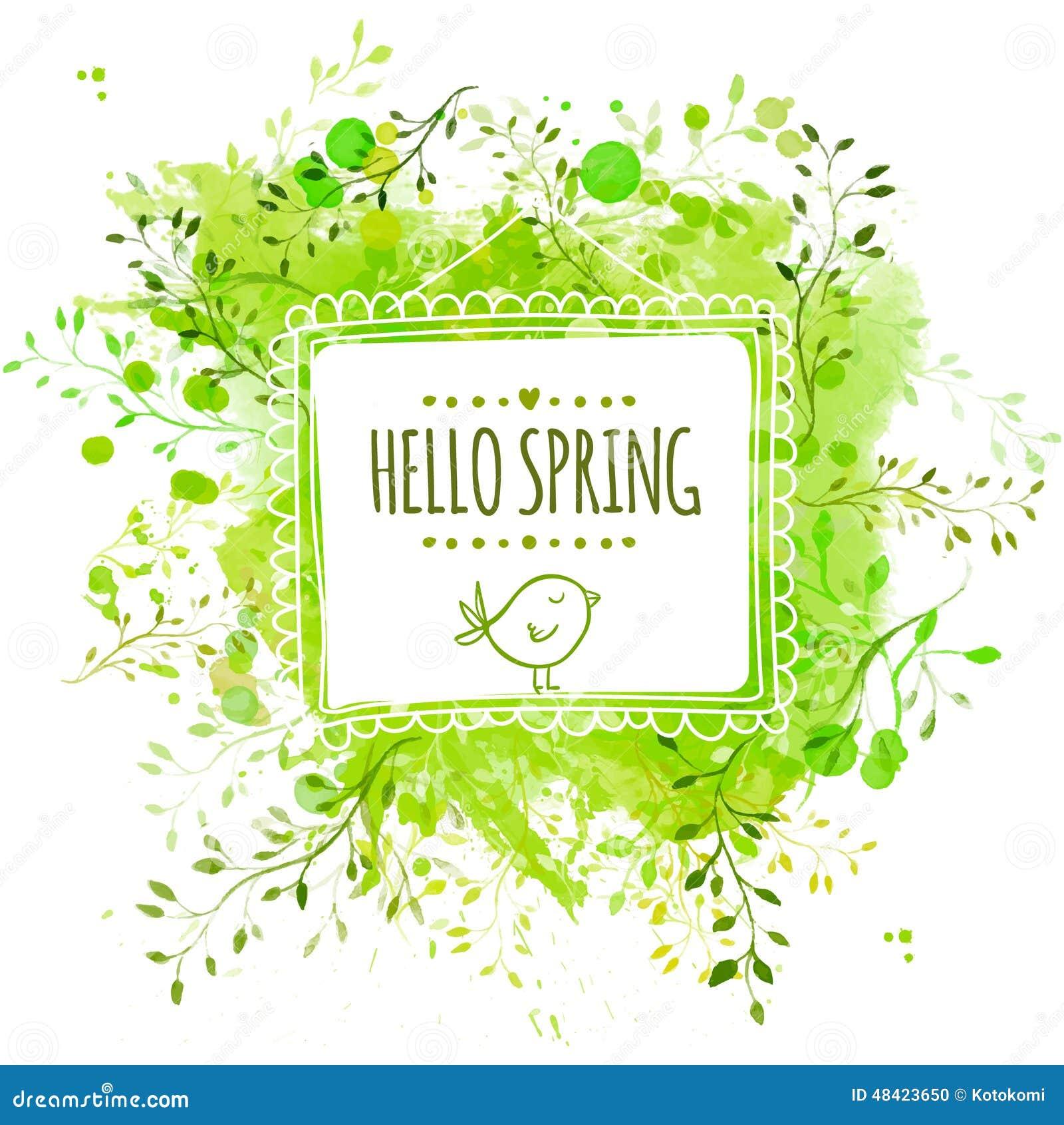 Wit hand getrokken vierkant kader met krabbelvogel en de tekst hello lente De groene achtergrond van de waterverfplons met blader