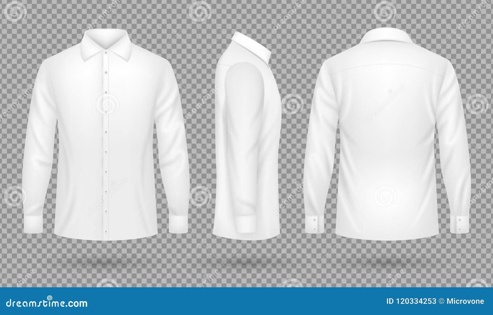 Wit leeg mannelijk overhemd met lange kokers in voor, zij, achtermeningen Realistisch vector geïsoleerd malplaatje