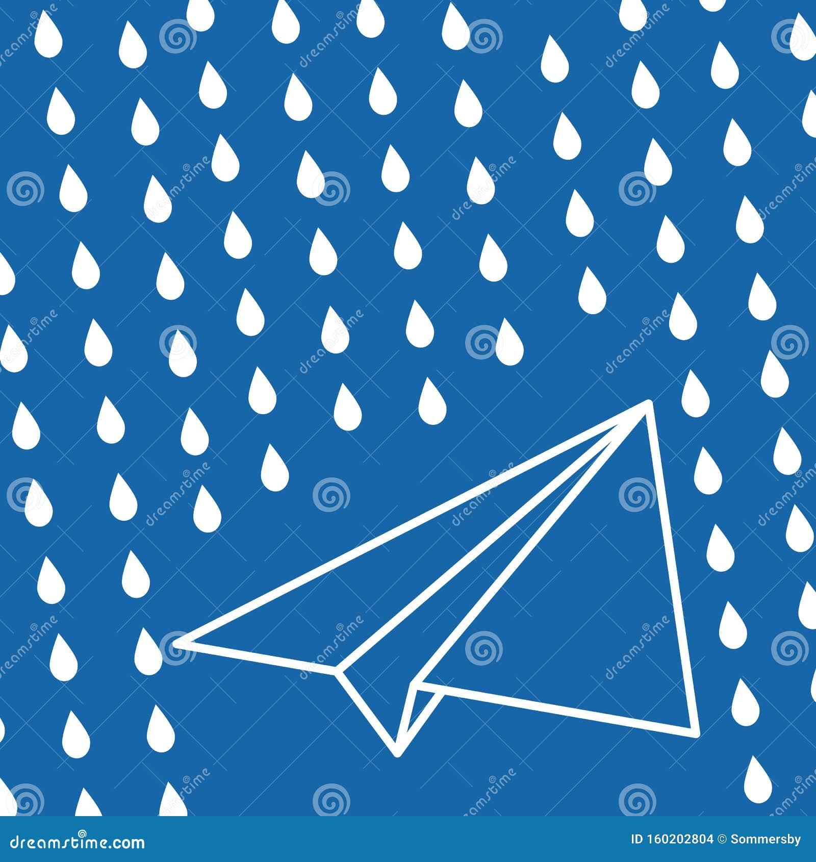 Wit papieren vliegtuig met regen valt op een blauwe luchtachtergrond Reisachtergrond voor blauw luchtruim