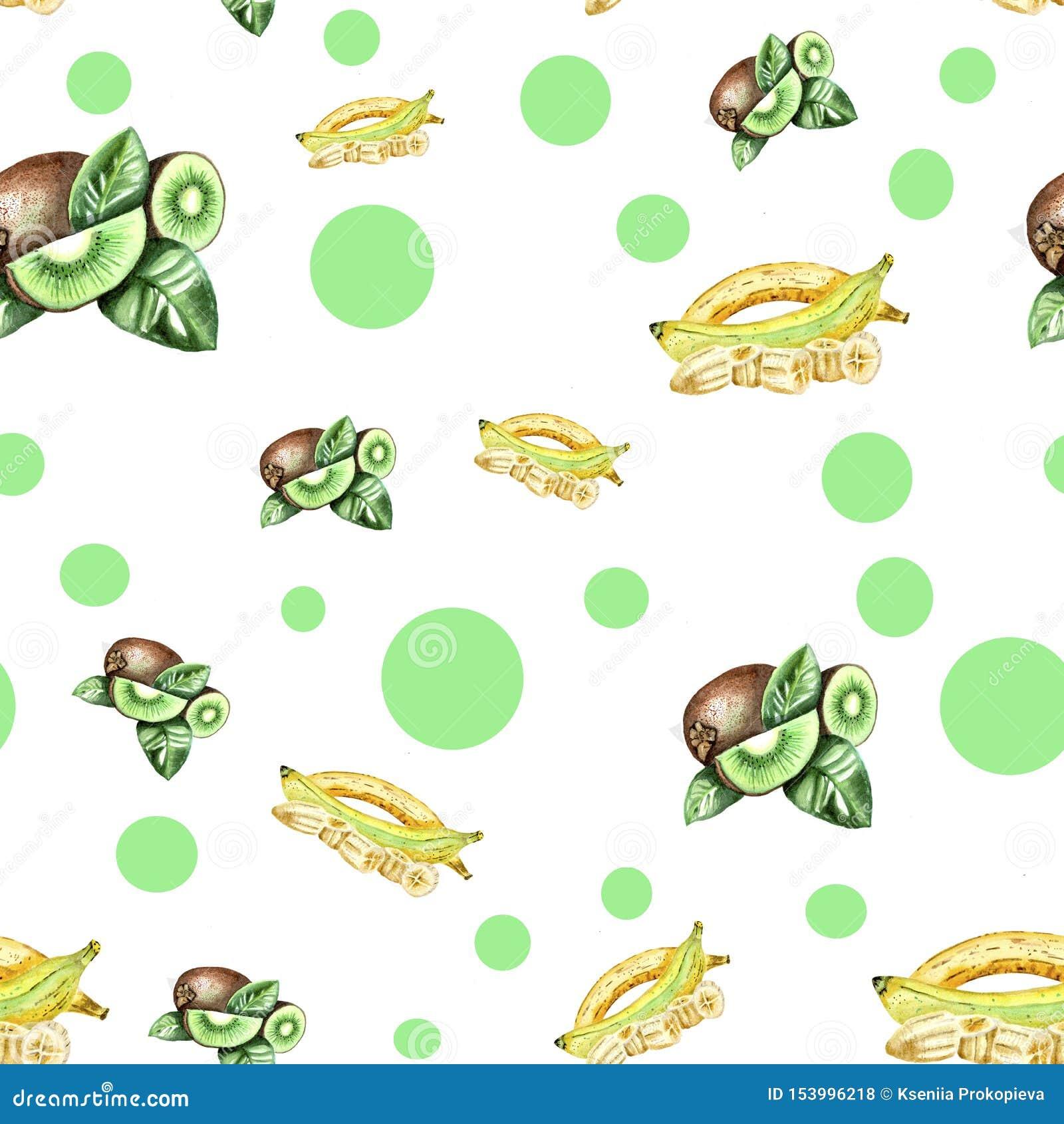 Wit patroon met groen punten en vruchten kunstwerk