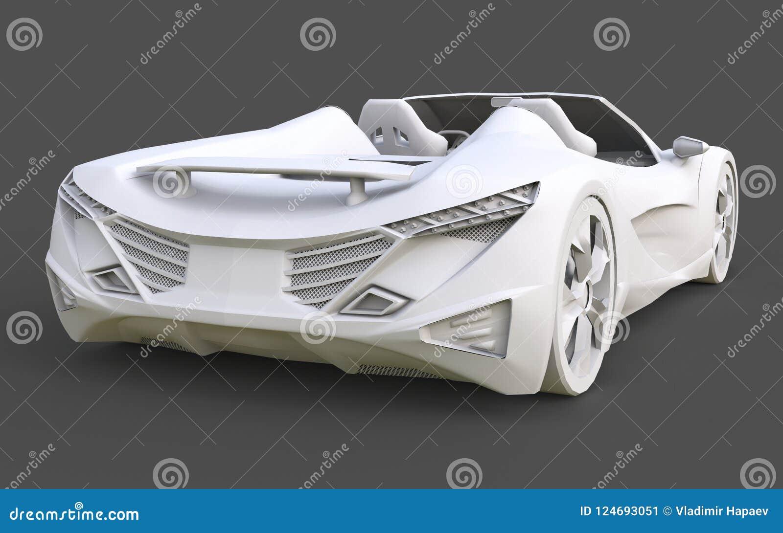 Wit plastic conceptueel model van een sportwagen convertibel op een grijze achtergrond het 3d teruggeven