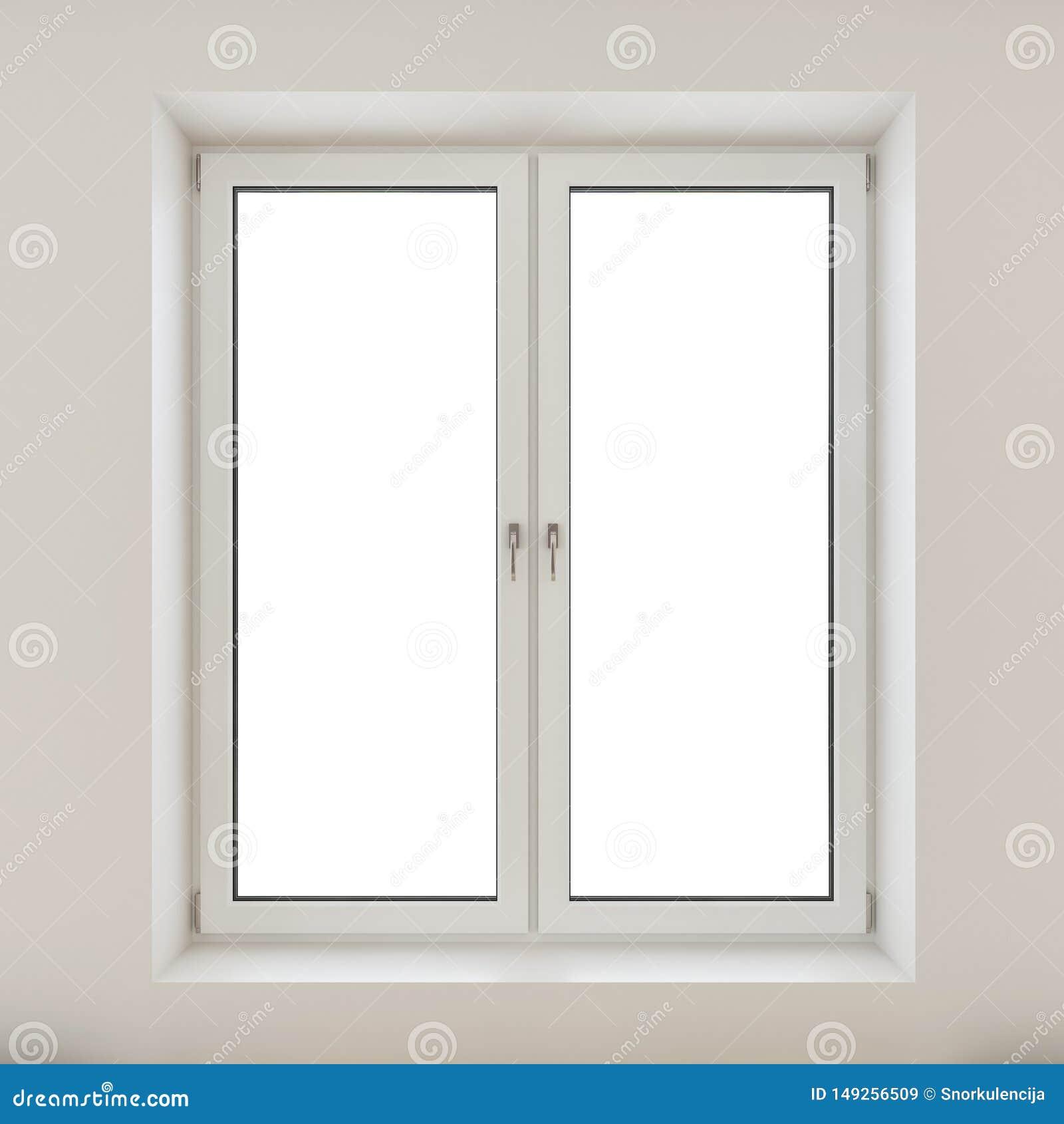Wit plastic dubbel die deurvenster op witte muur wordt geïsoleerd