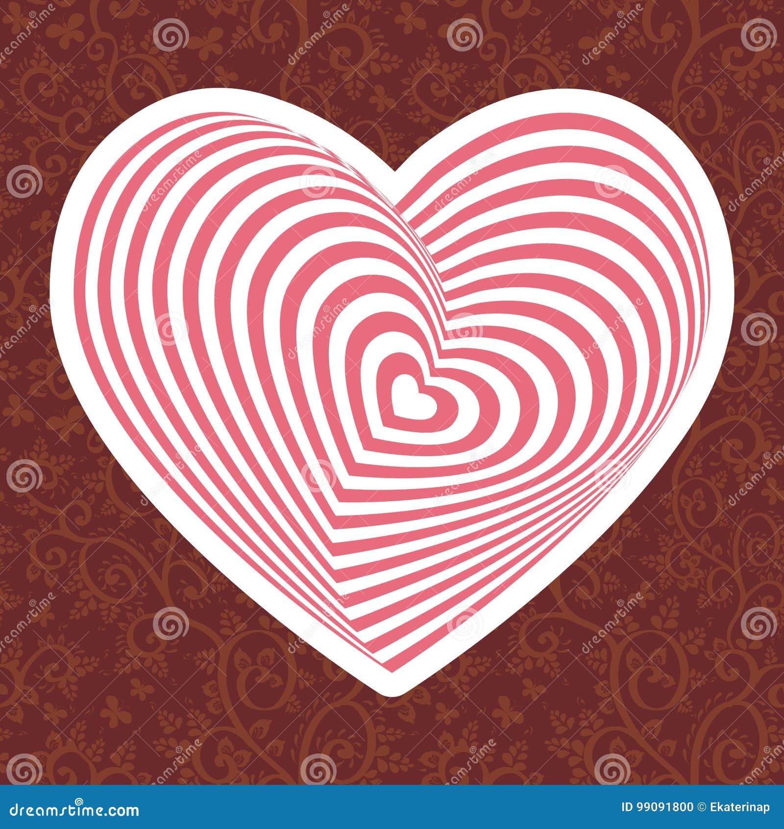 Wit roze hart op Donkerrode bruine bloemenornamentachtergrond Optische illusie van 3D driedimensioneel volume Vector