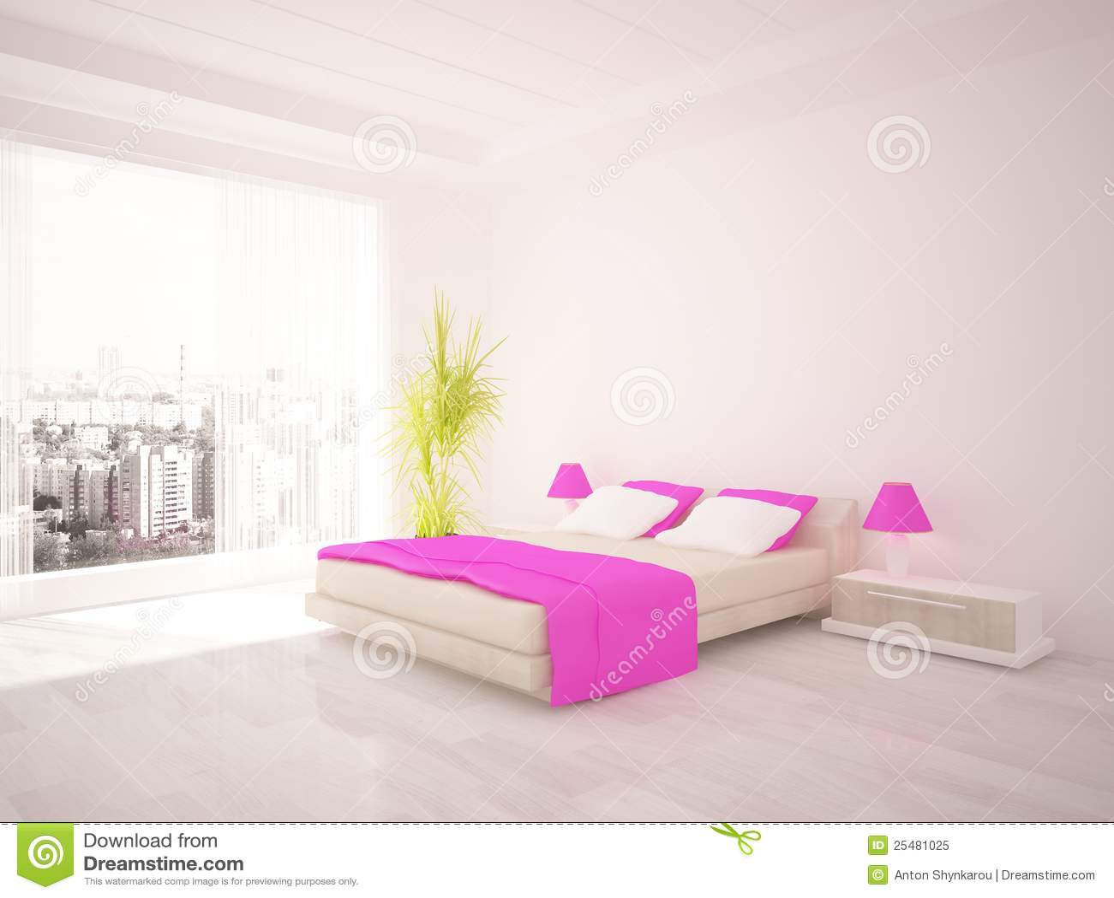 Wit slaapkamer binnenlands ontwerp stock illustratie illustratie