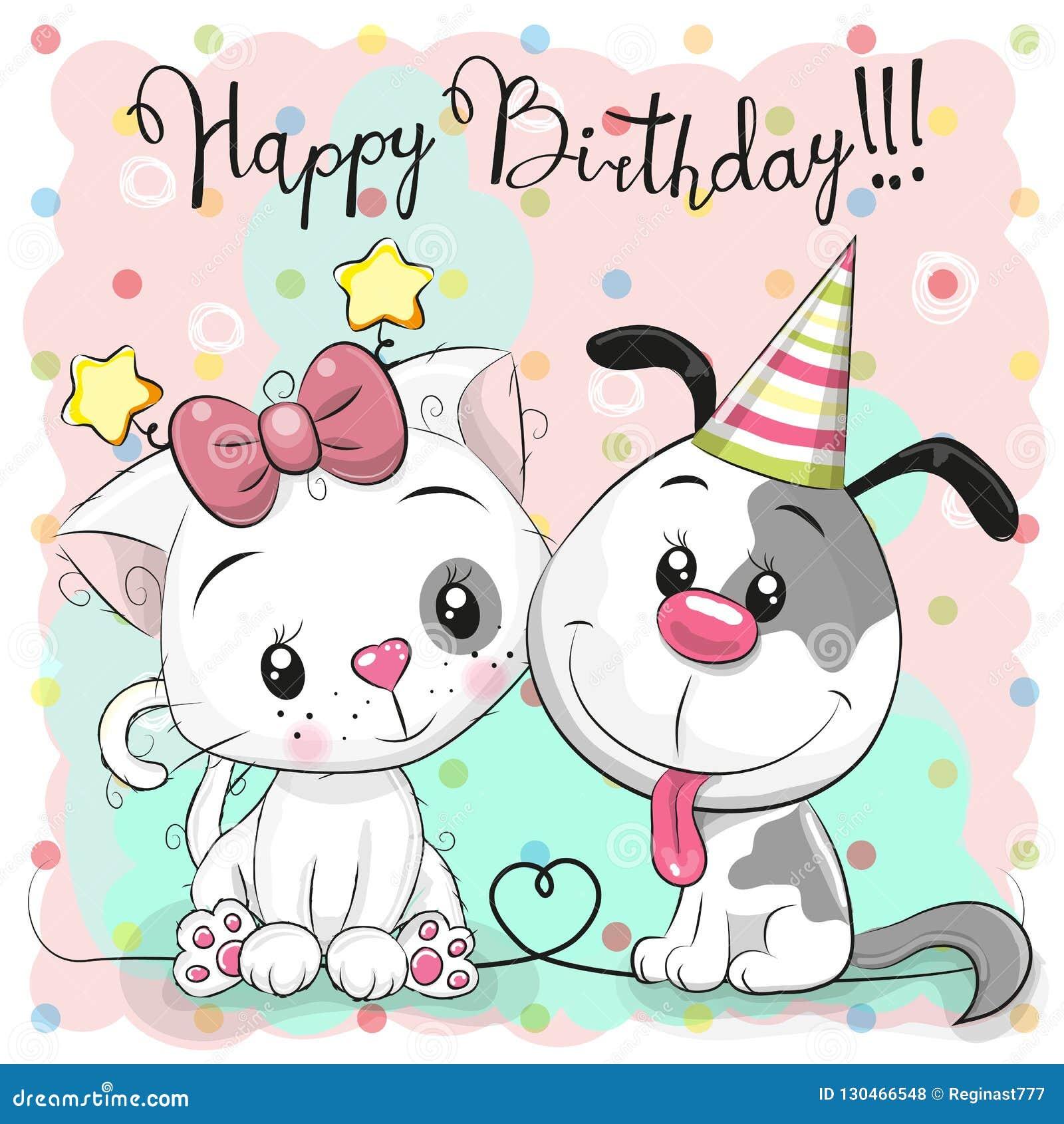 Witać Urodzinową kartę z ślicznym kotem i psem
