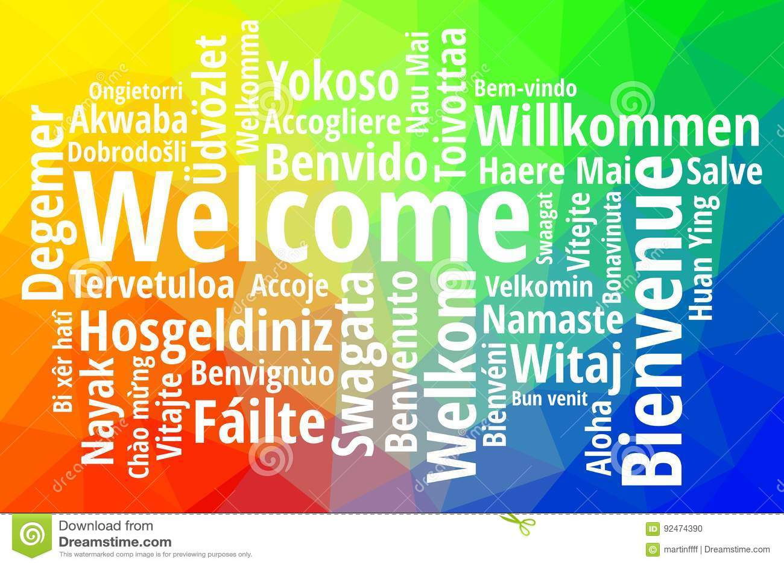 Wita w różnym języka wordcloud wektorze