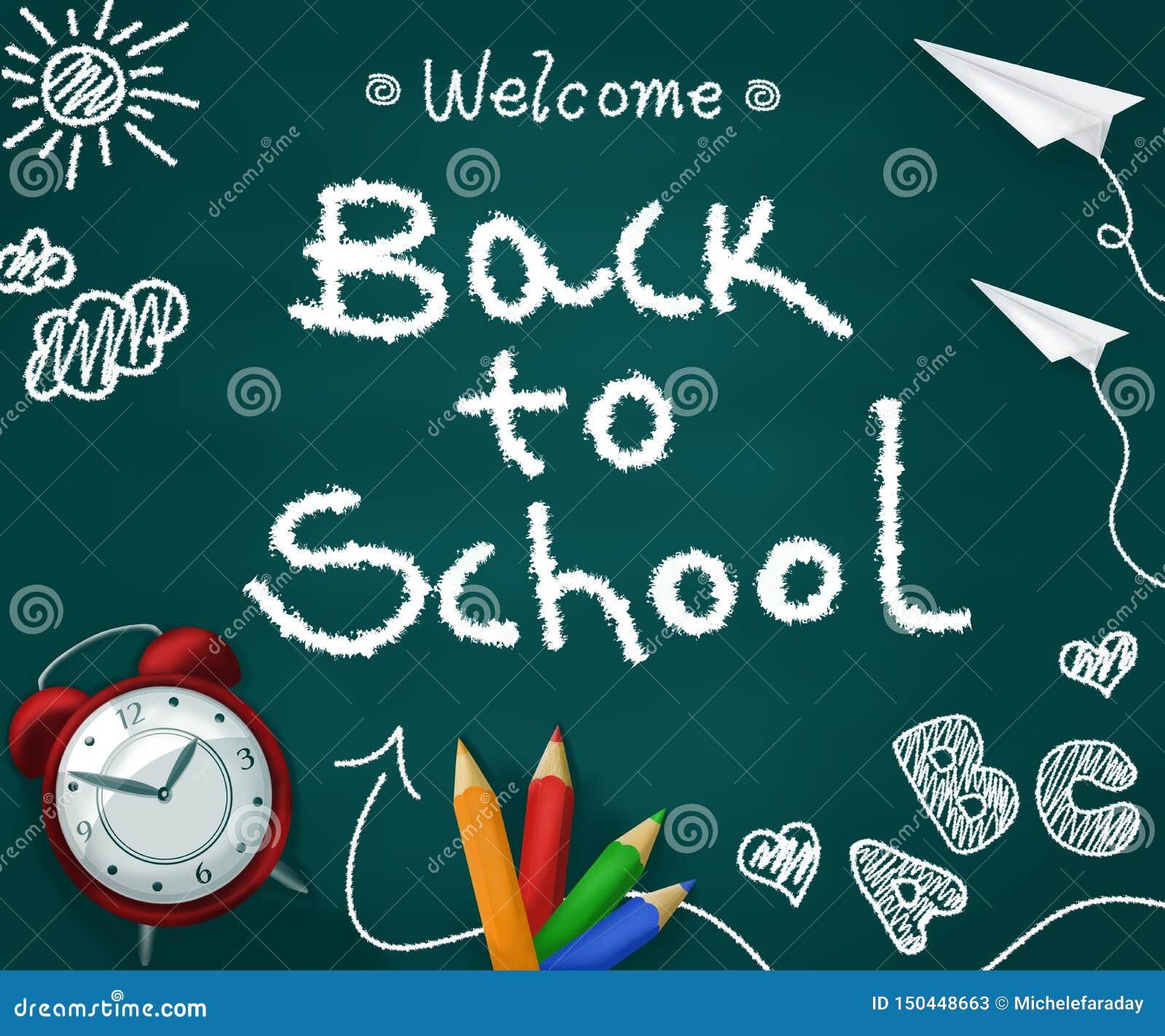 Wita z powrotem szkoła w chalkboard z realistycznymi dostawami tylna koncepcji do szko?y
