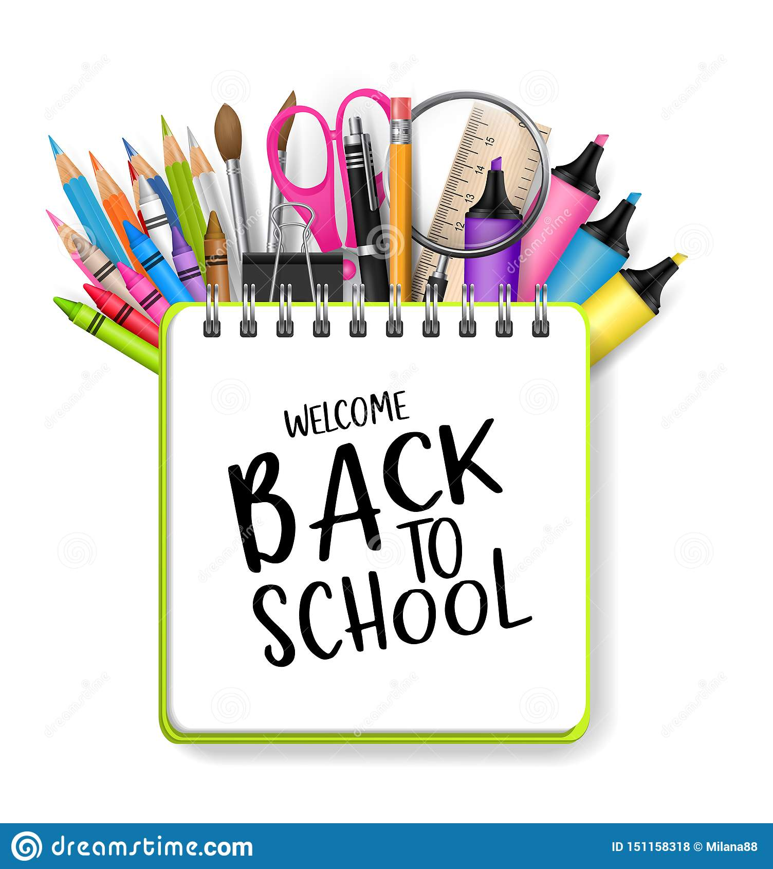 Wita z powrotem szkoły tło z ringowym typografia tekstem i notatnikiem Stos ołówki, pióra, nożyce, rynki, highlighte