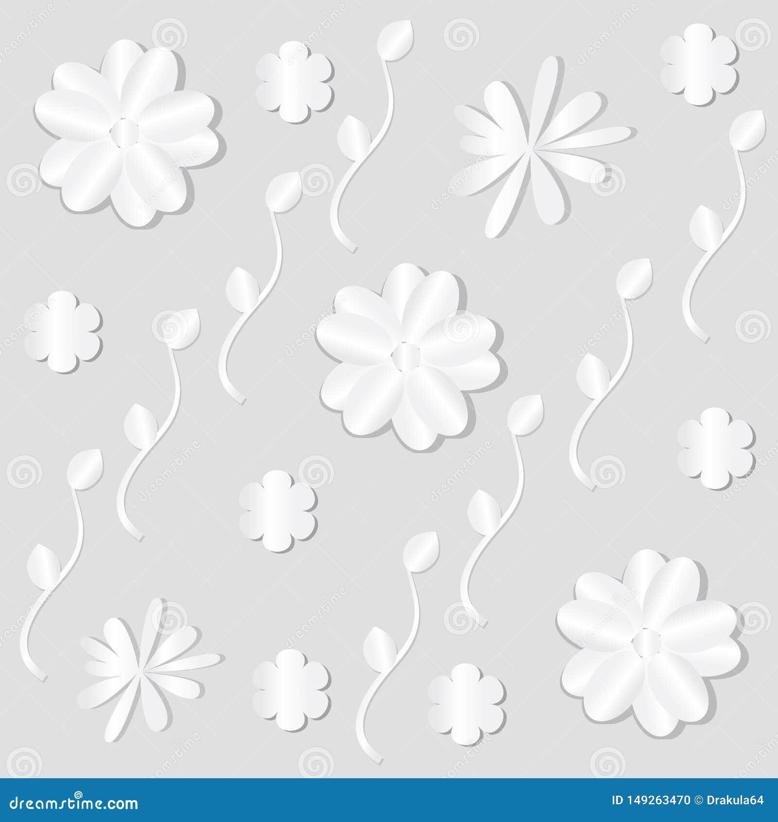 Witboekbloemen op licht achtergronddecorbehang
