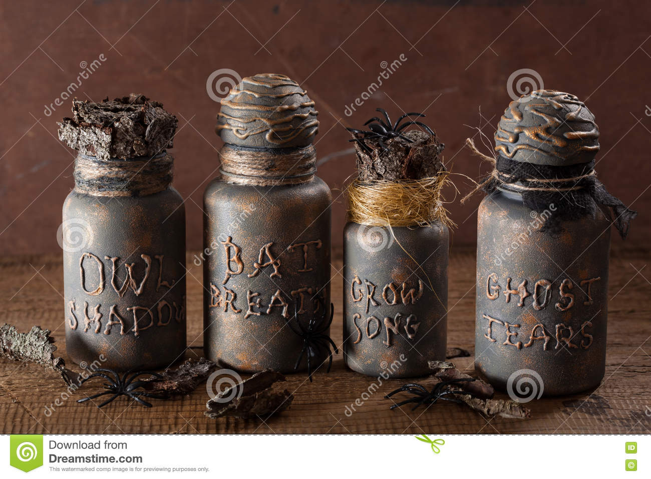 Witch apothecary jars magic potions halloween decoration for Halloween medicine bottles