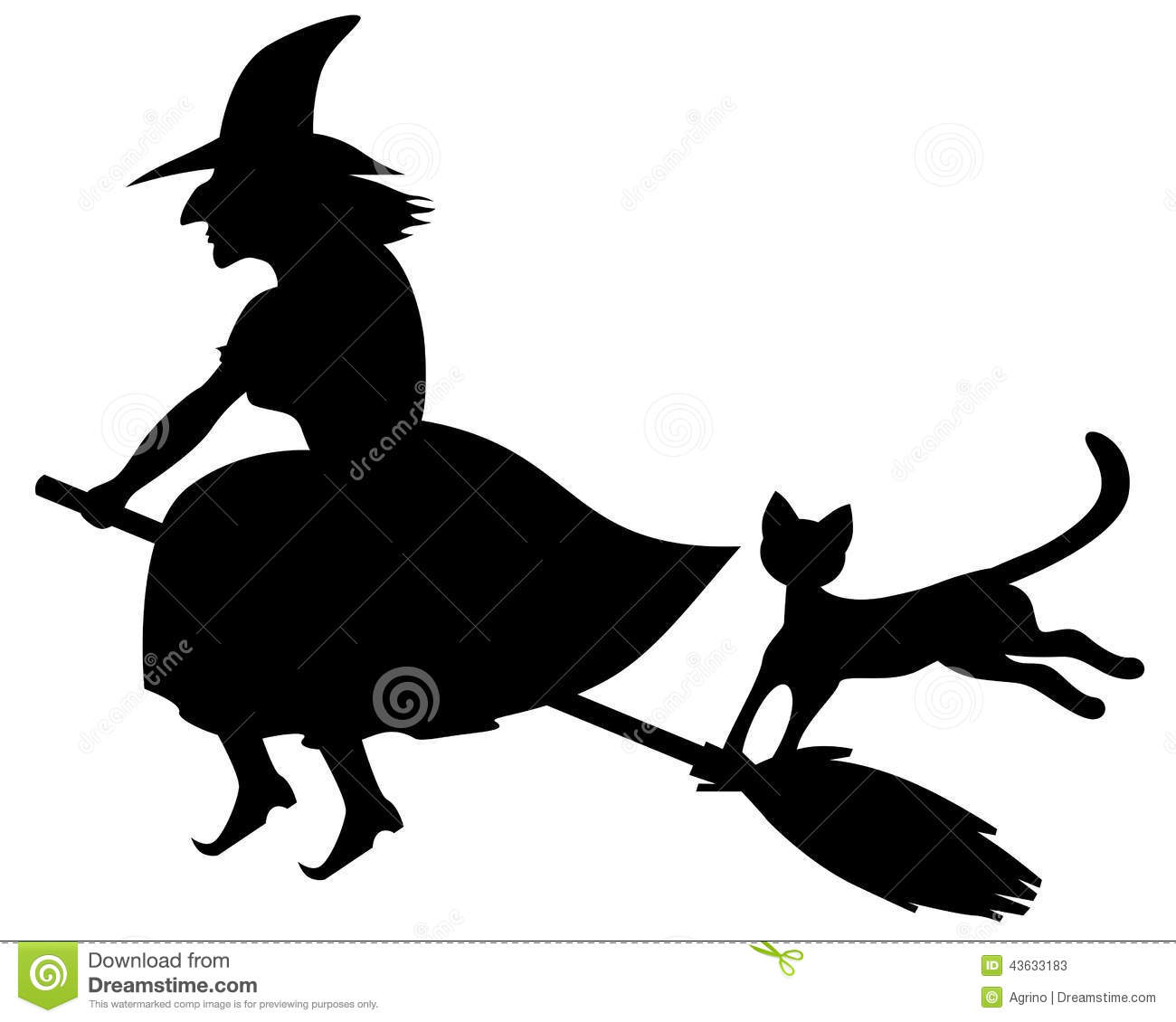 Silhouette black-and-white image of scary witch flaying on a broom and ...