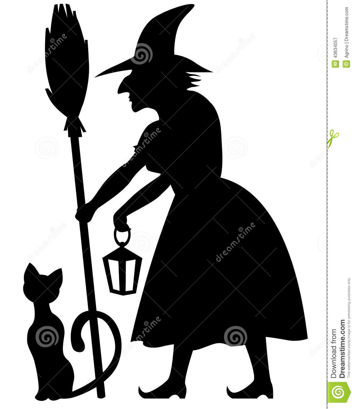 Witch And Black Cat Stock Vector Image 43634057