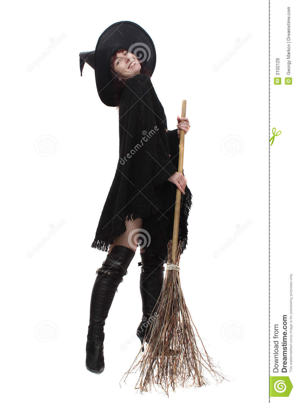 Witch With A Broom Royalty Free Stock Image - Image: 3102126