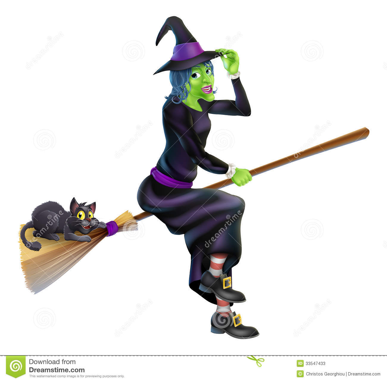 ... Halloween witch flying on her broom stick with her cute black cat