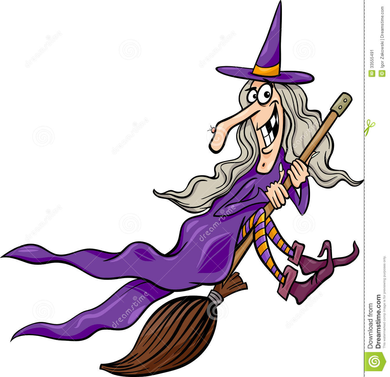 ... Illustration of Funny Fantasy or Halloween Witch Flying on Broom