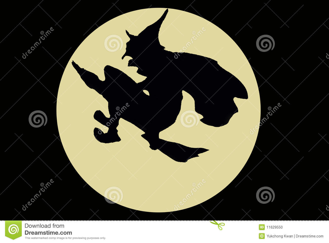 A Witch With The Broom Flying Across The Moon Stock