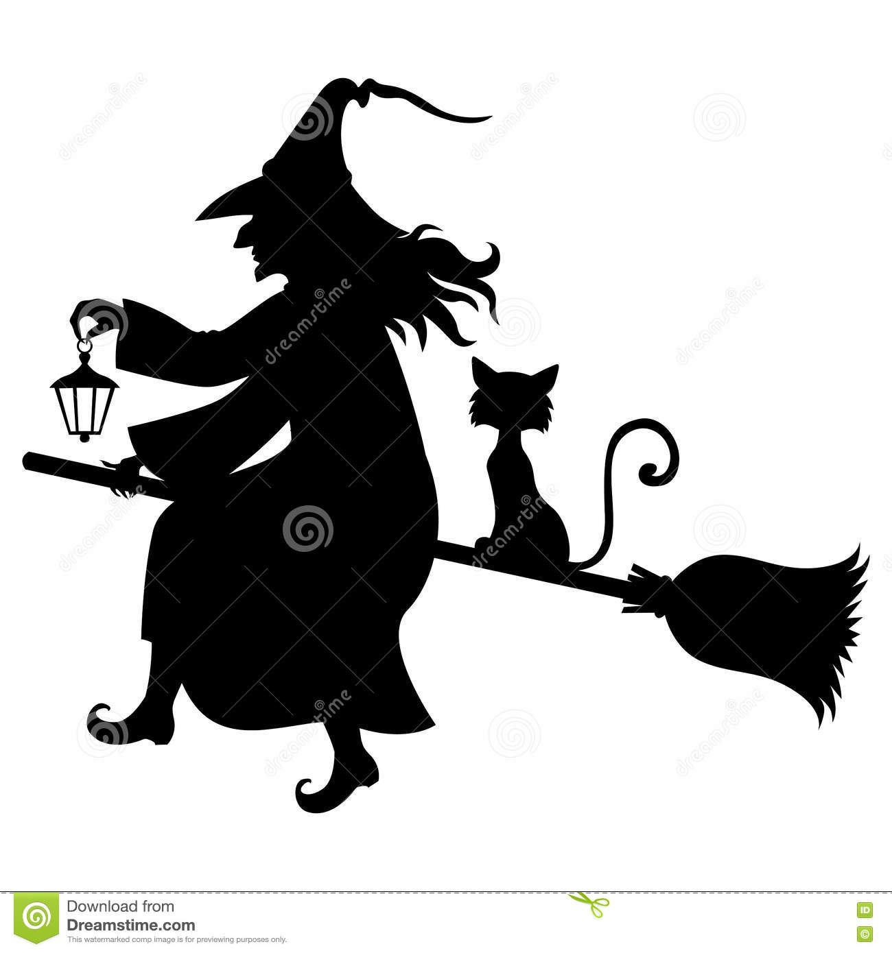 broom broomstick cat fly halloween silhouette witch - Flying Halloween Witch
