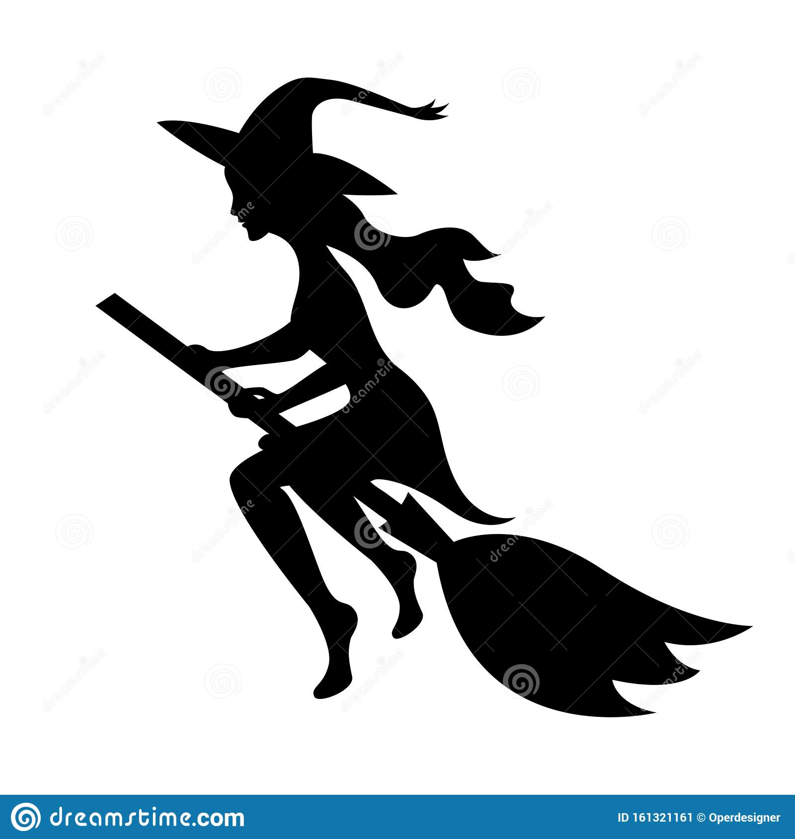 Witch On A Broomstick Black Silhouette. Halloween Scary