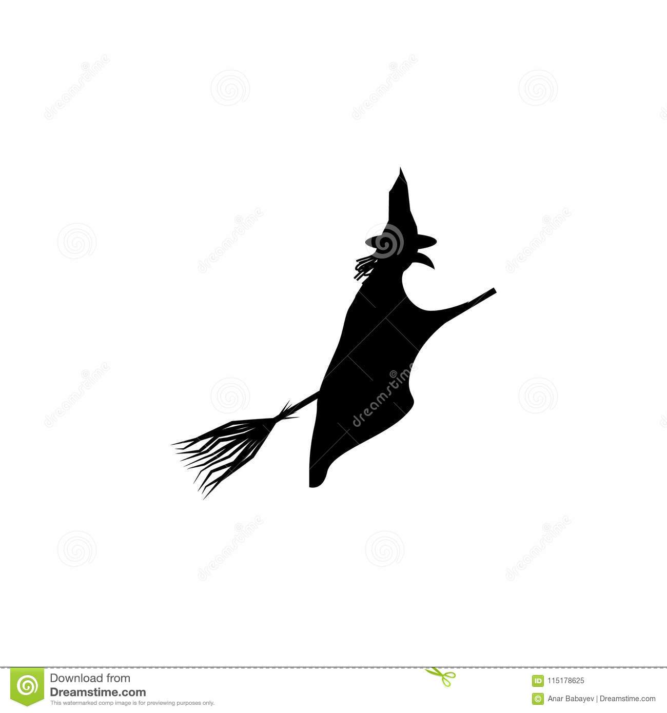 Witch On A Broomstick Silhouette Element Of Fairy Tale Heroes