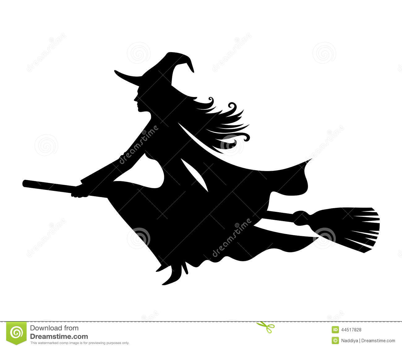 Vector Black Silhouette Of A Beautiful Witch On Broomstick Isolated