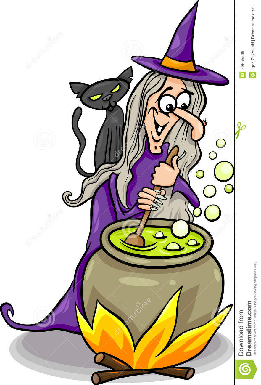 witch casting a spell cartoon illustration stock vector