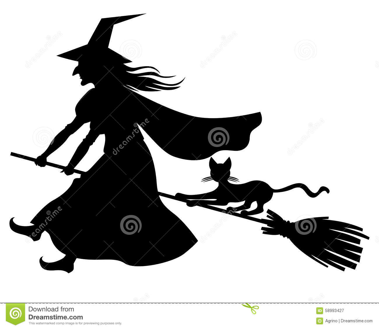 Vector illustrations of silhouette witch and cat flying on broomstick.