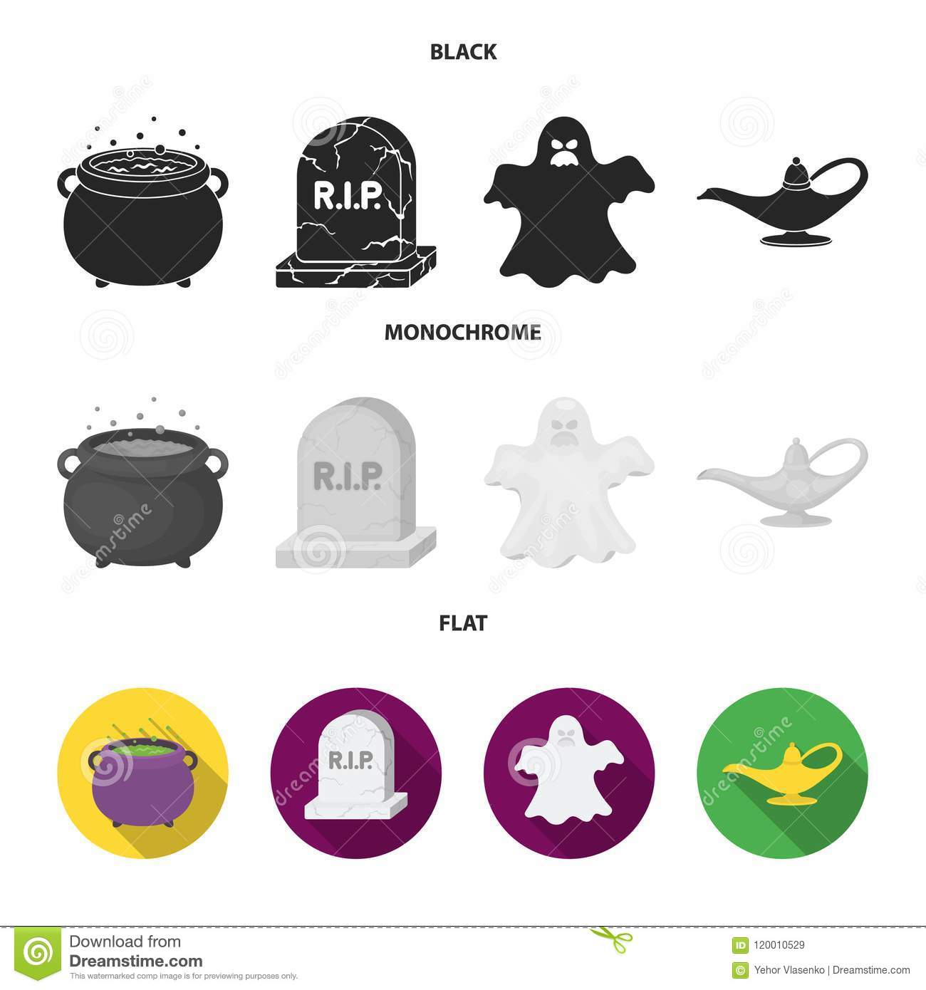 A witch cauldron, a tombstone, a ghost, a gin lamp.Black and white magic set collection icons in black, flat, monochrome