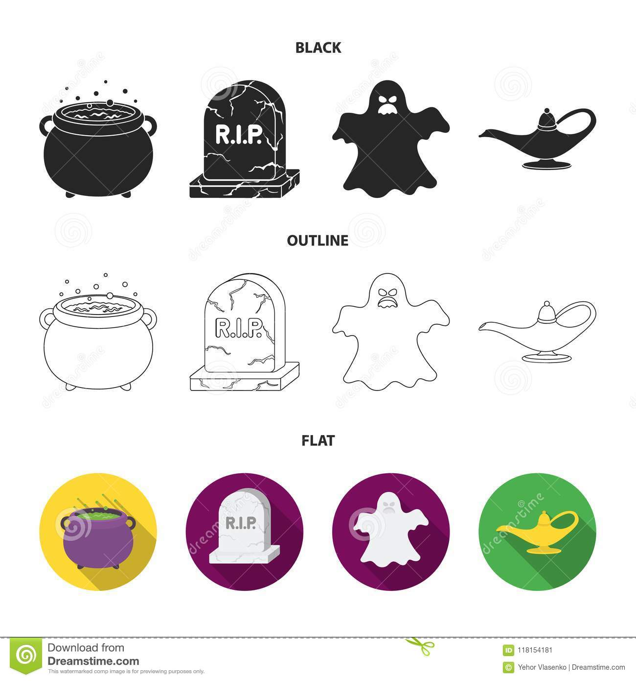 A witch cauldron, a tombstone, a ghost, a gin lamp.Black and white magic set collection icons in black,flat,outline