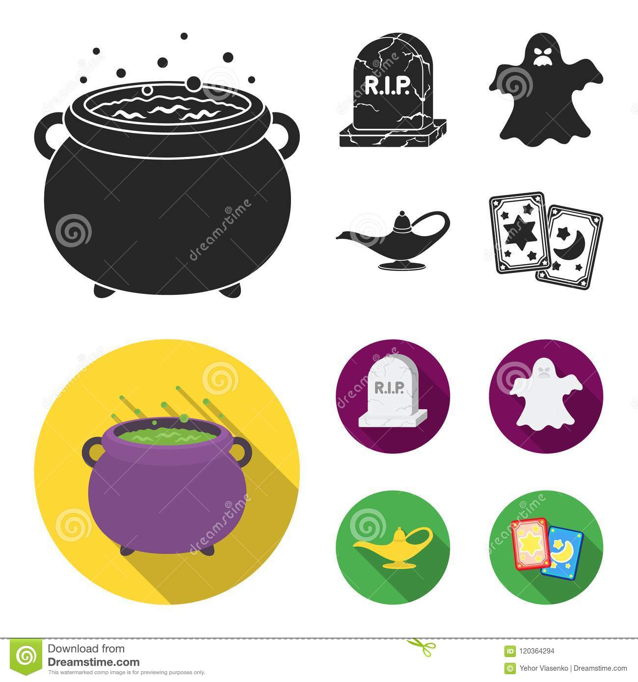 A witch cauldron, a tombstone, a ghost, a gin lamp.Black and white magic set collection icons in black, flat style