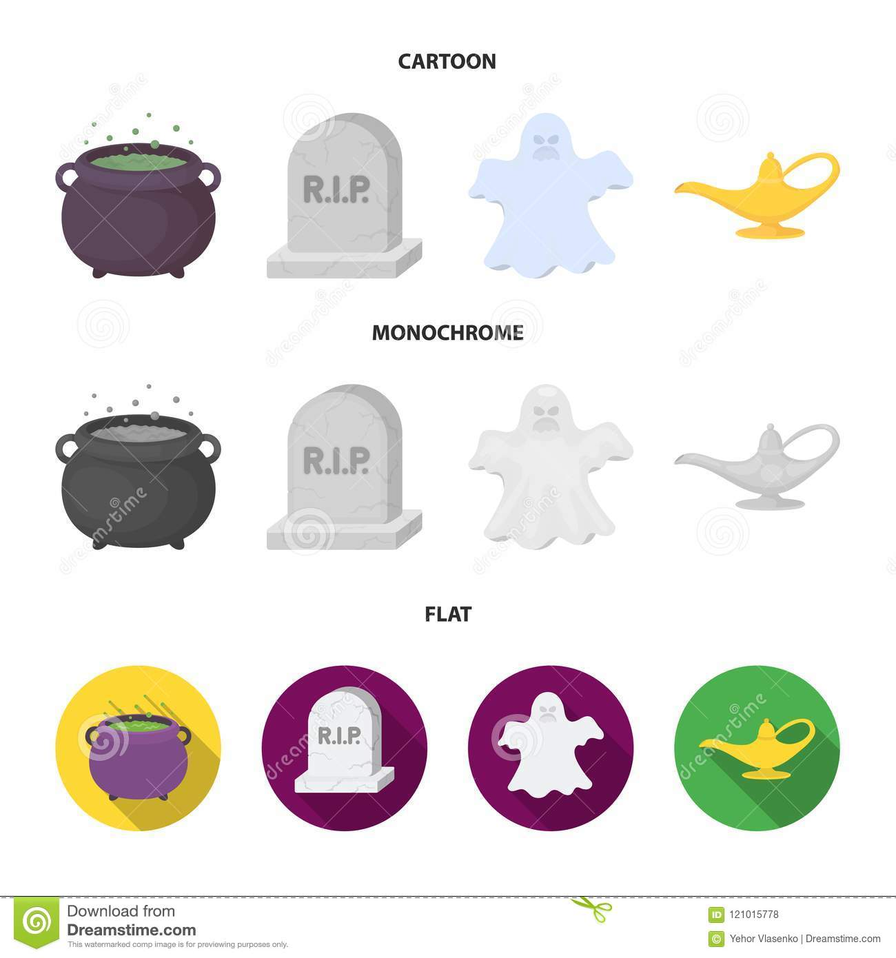 A witch cauldron, a tombstone, a ghost, a gin lamp.Black and white magic set collection icons in cartoon,flat,monochrome
