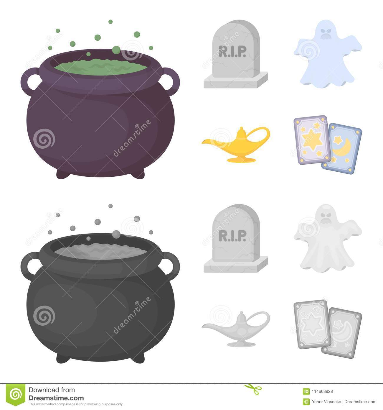 A witch cauldron, a tombstone, a ghost, a gin lamp.Black and white magic set collection icons in cartoon,monochrome