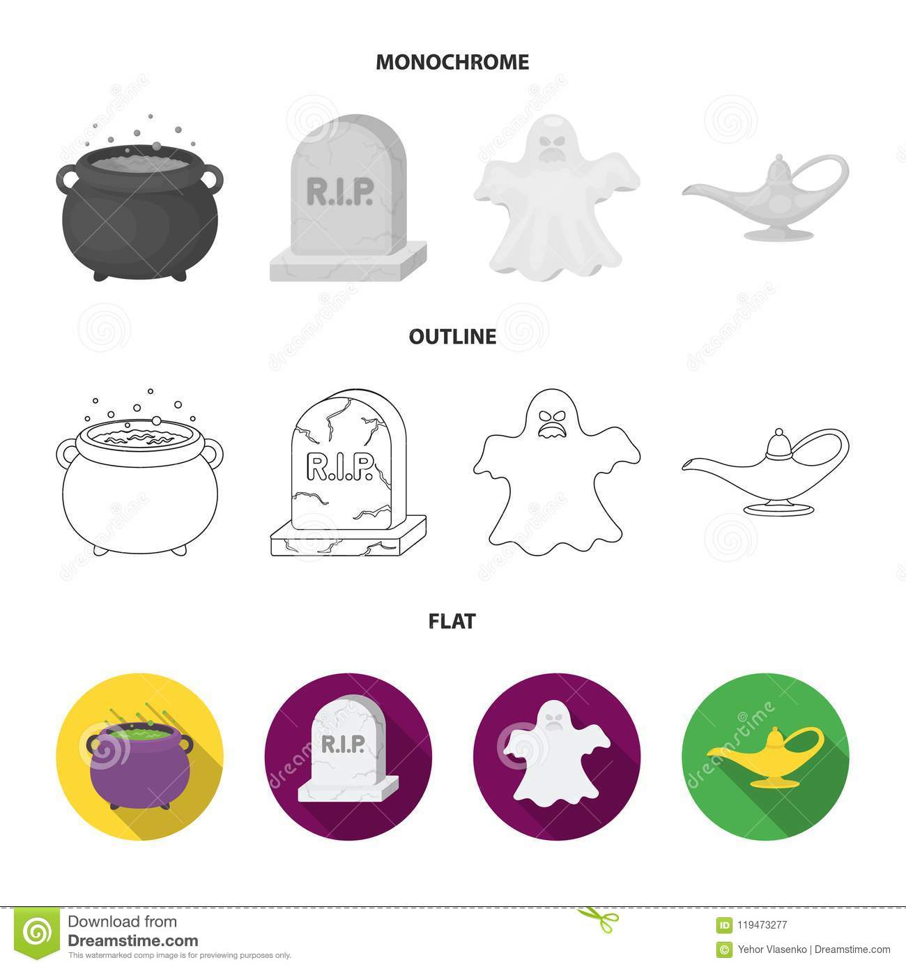 A witch cauldron, a tombstone, a ghost, a gin lamp.Black and white magic set collection icons in flat,outline,monochrome