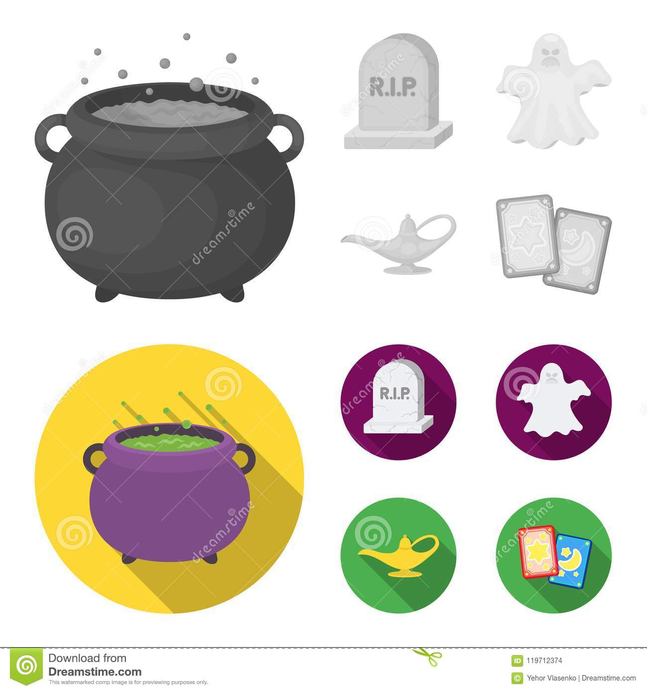 A witch cauldron, a tombstone, a ghost, a gin lamp.Black and white magic set collection icons in monochrome,flat style