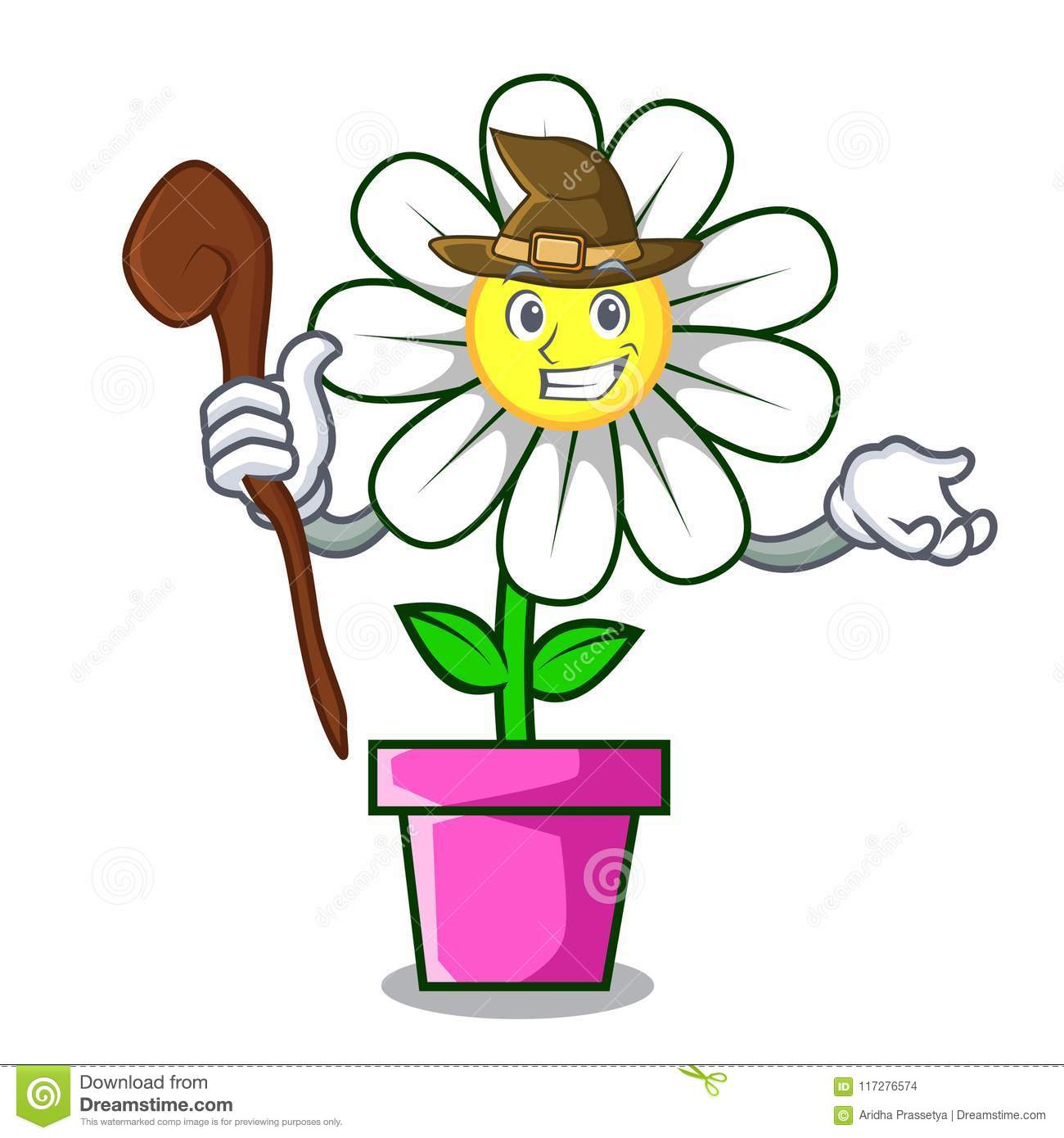 Witch Daisy Flower Mascot Cartoon Stock Vector Illustration Of
