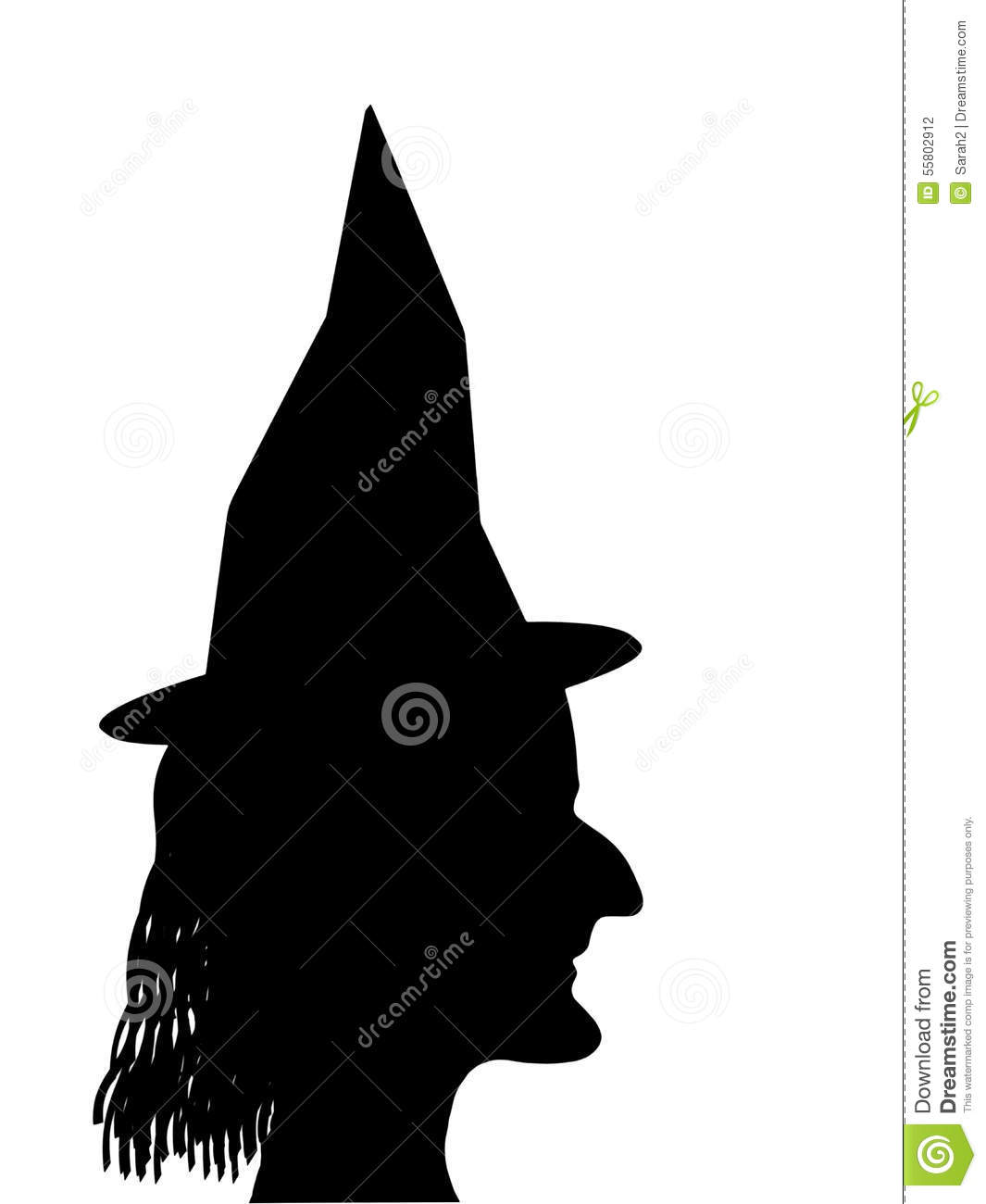 witch face profile silhouette halloween etc stock photo