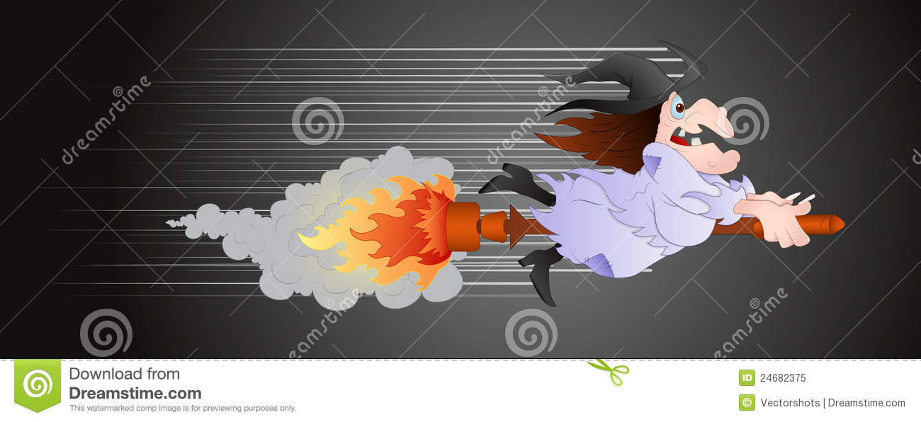 Witch On Fire Broomstick Royalty Free Stock Photo - Image ...