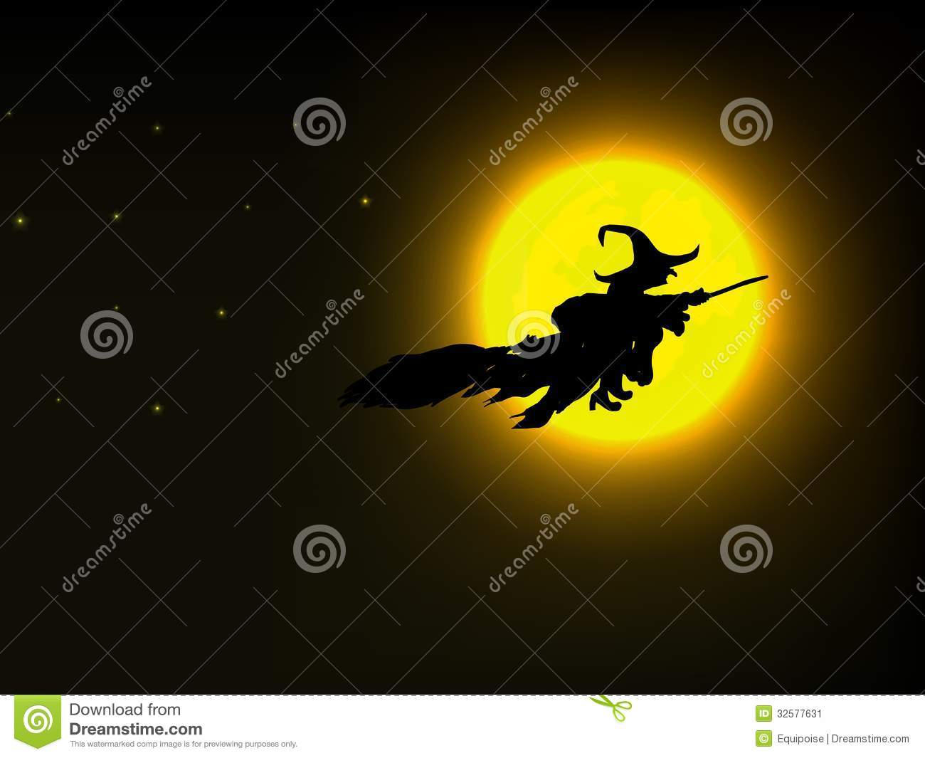 Witch Flying Over The Moon Stock Image Image 32577631